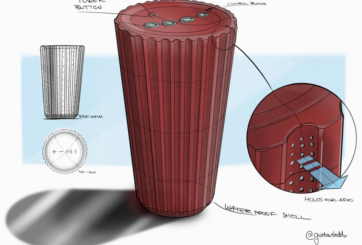 Waterproof Bluetooth Speaker Concept - student project