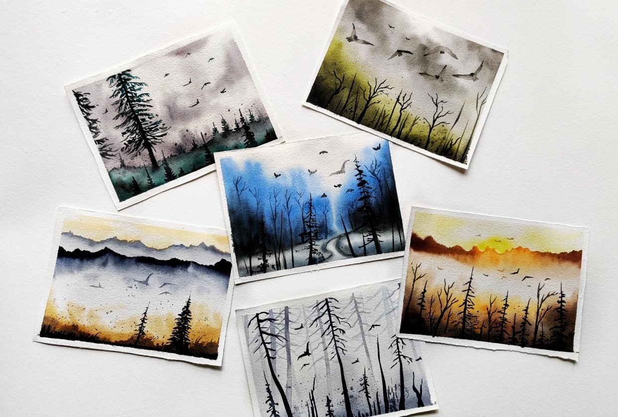 Misty Landscapes - Serene Watercolor paintings - student project