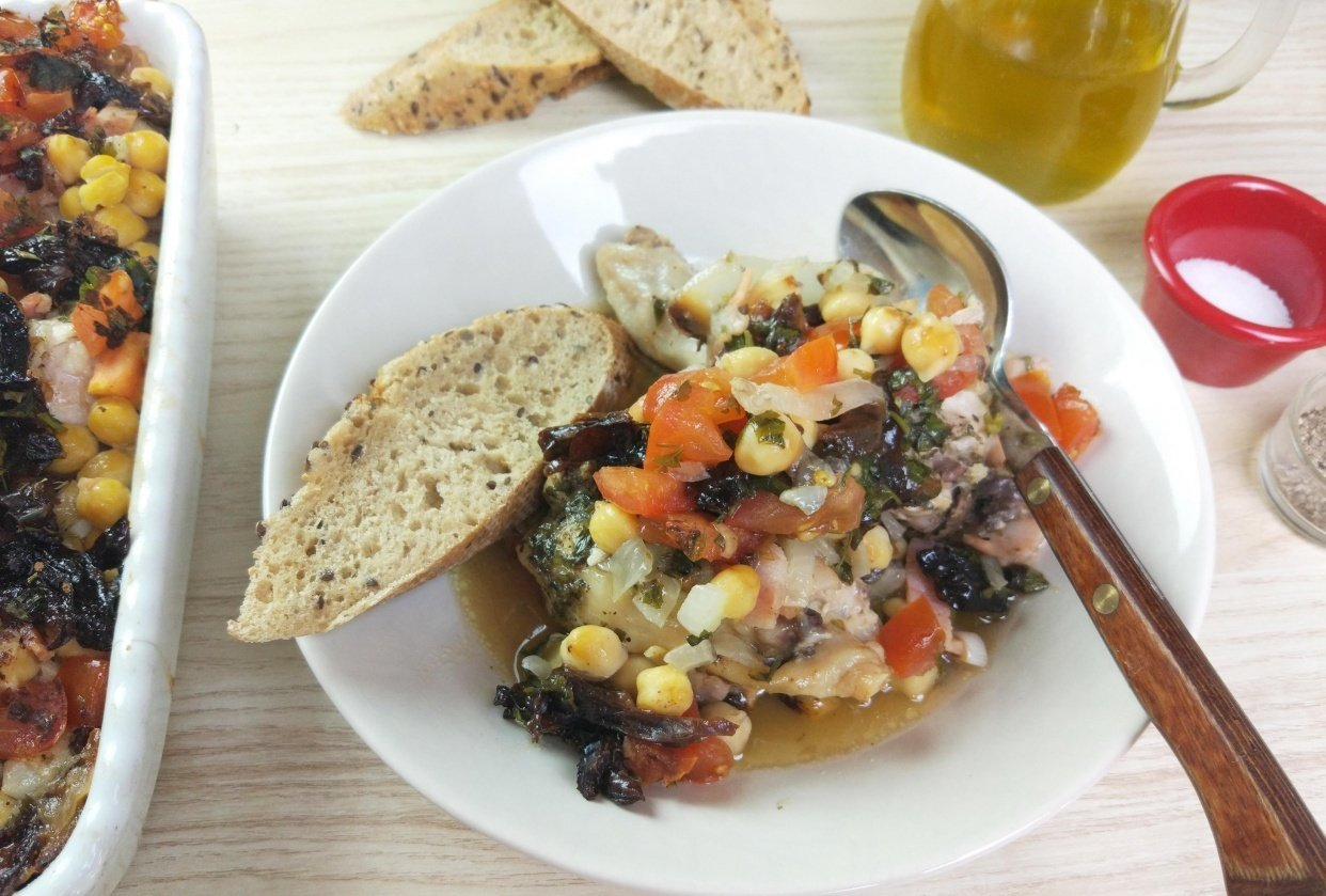 Chickpea Chicken Roast with Prunes, Tomatoes and Thyme - student project
