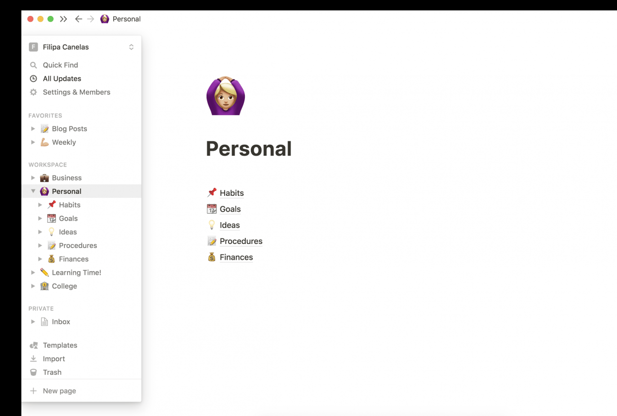 Notion - Personal Pages! - student project