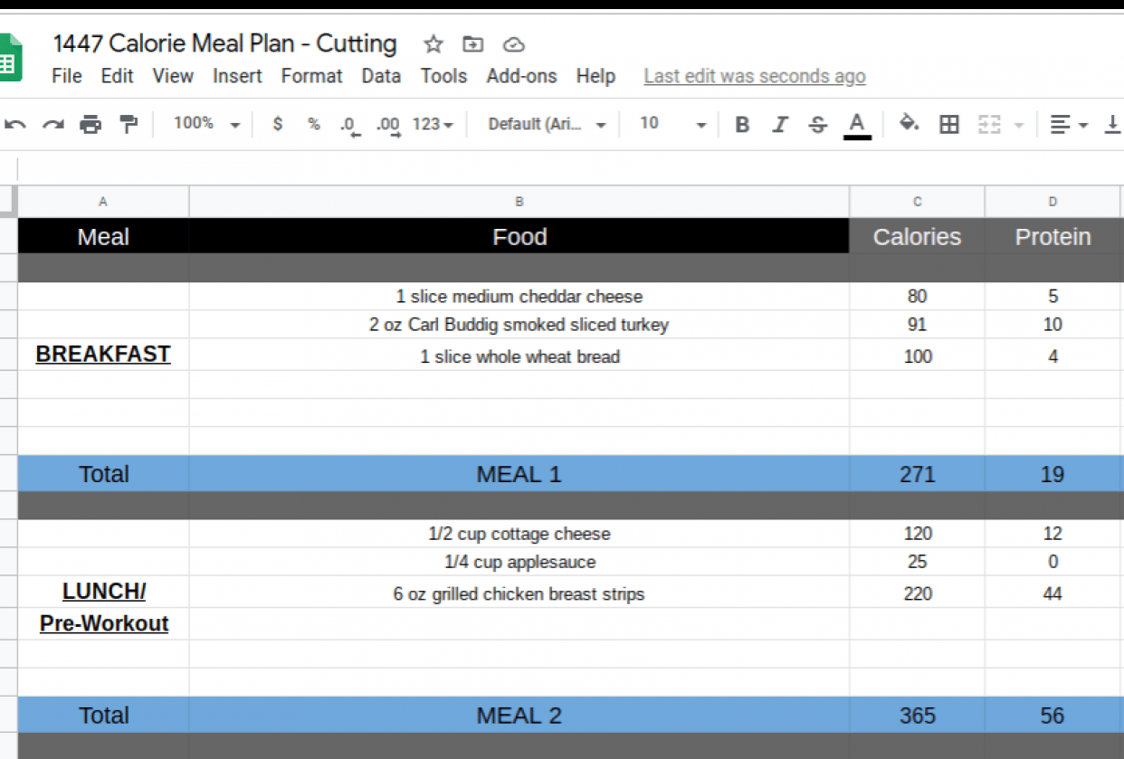 1447 Calorie Meal Plan for Female - Cutting - student project