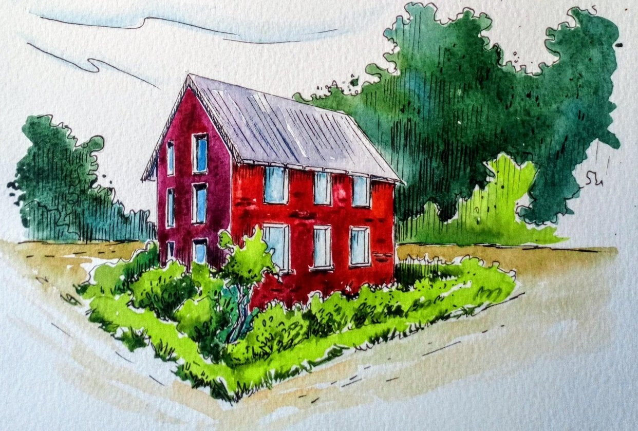 Greenery in Urban Sketching - student project