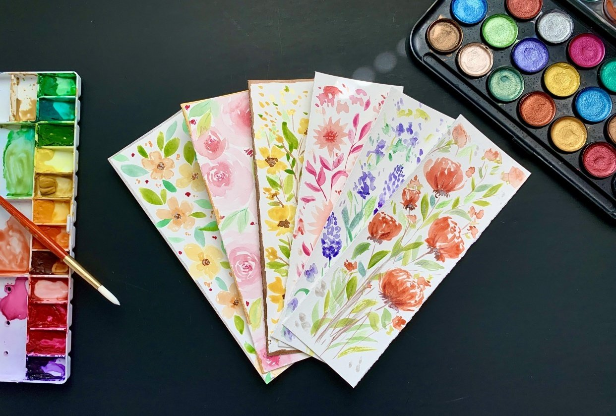 fun watercolor bookmarks - student project