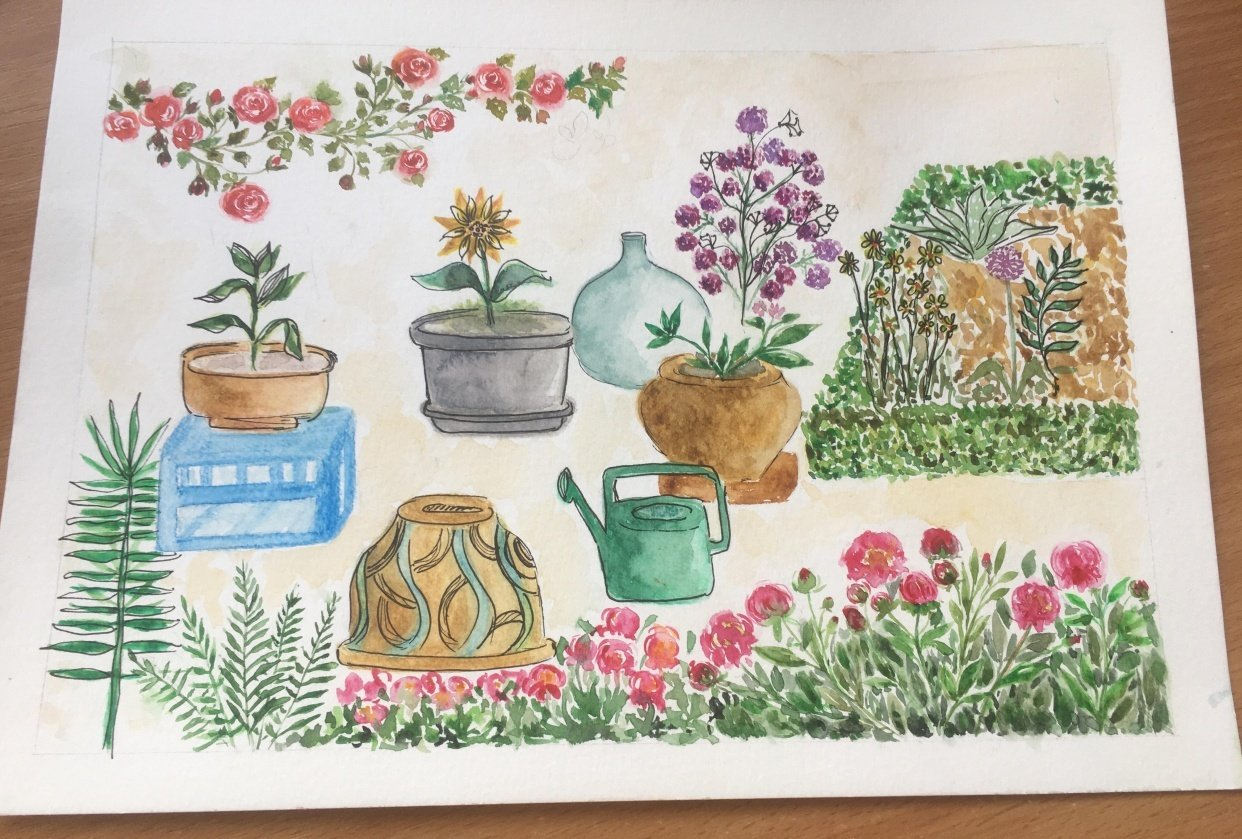 Watercolor garden objects - student project