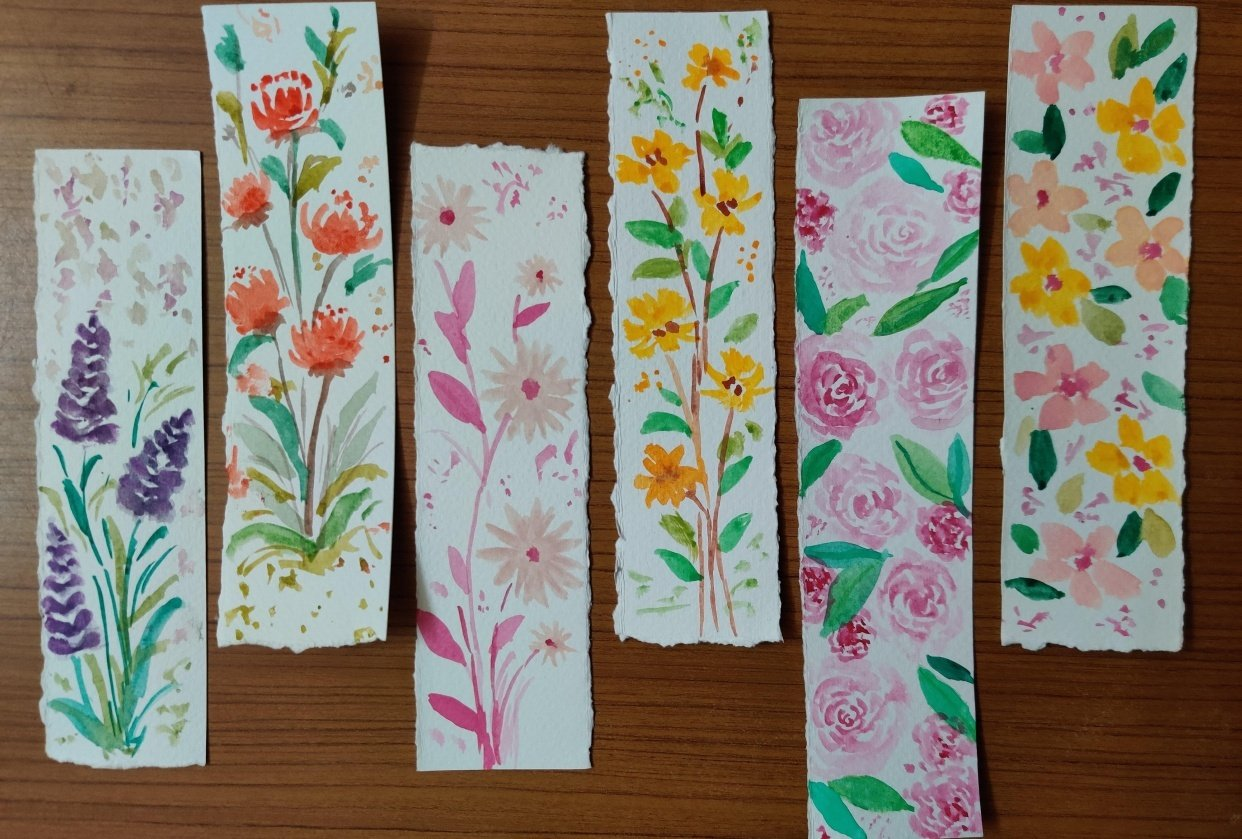 Loose watercolor florals class project - student project