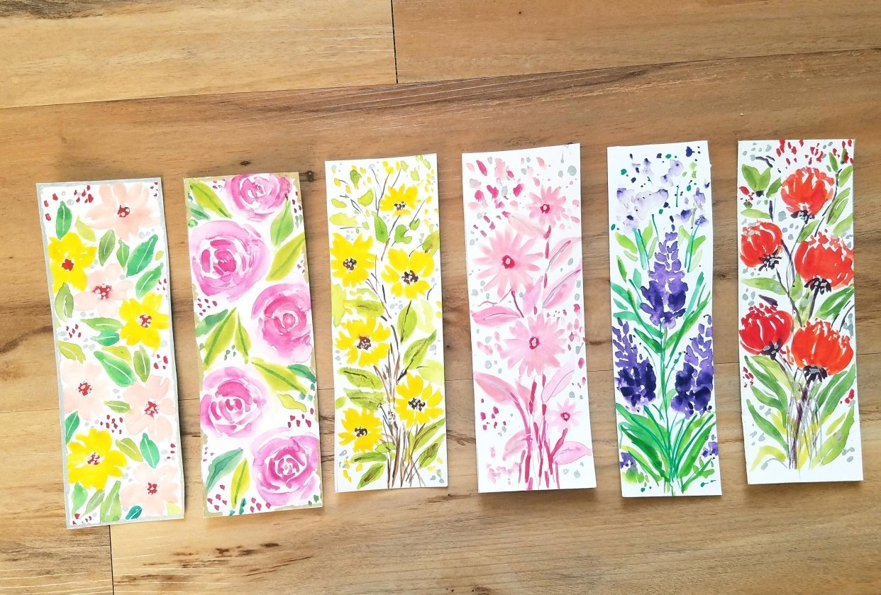 Loose Watercolor Bookmarks - student project