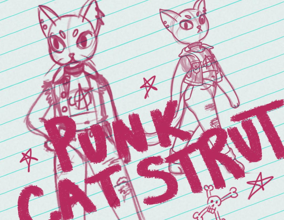 Liquid Text & Punk Cat Strut - student project