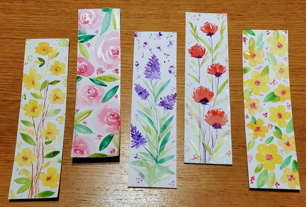 Loose watercolor florals bookmarks - student project