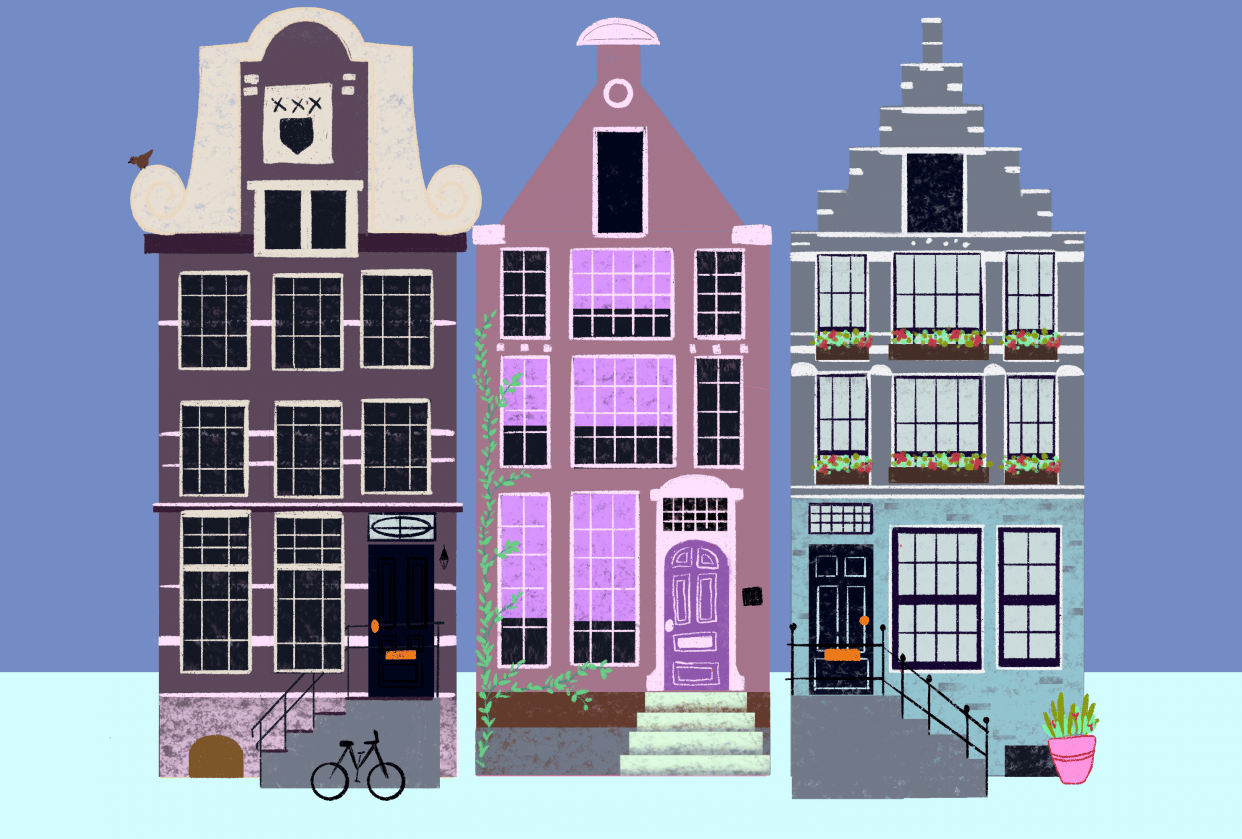 Colorful houses - purple palette! - student project