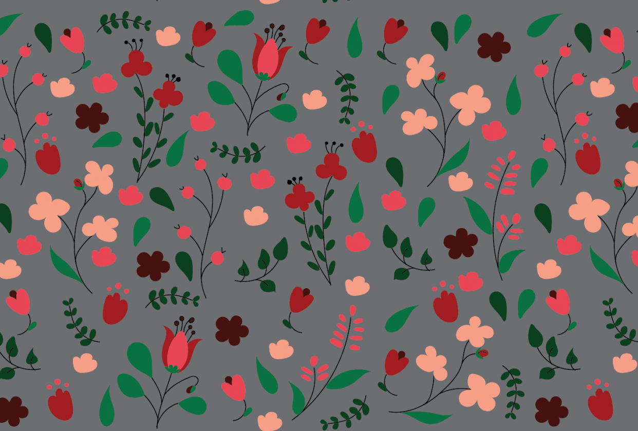Flowers in repeat pattern - student project