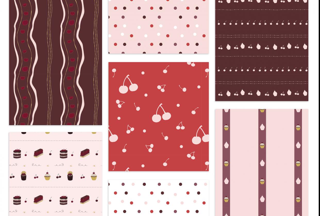 Cherry Choc Chic Pattern Portfolio Page - student project