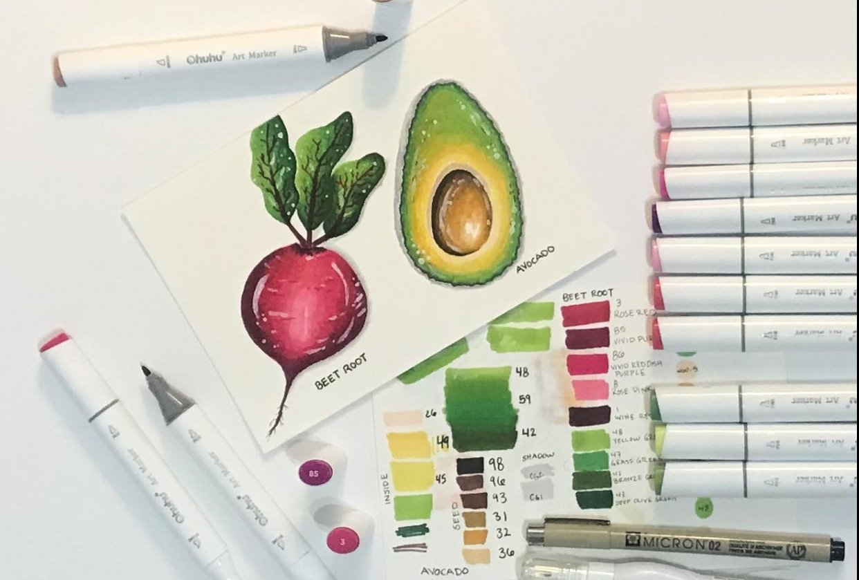 Avocado & Beet Root Ohuhu Markers - student project