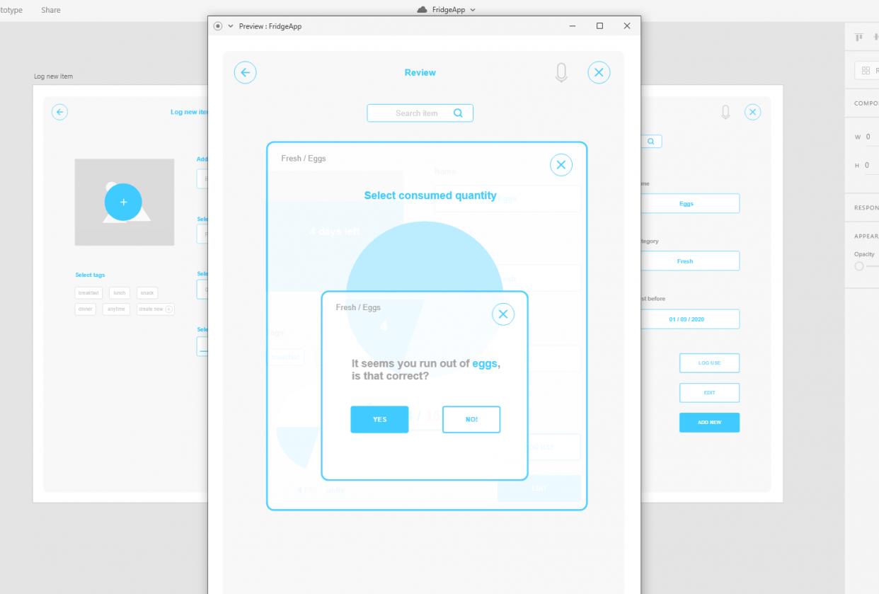 Fridge App Prototype - student project