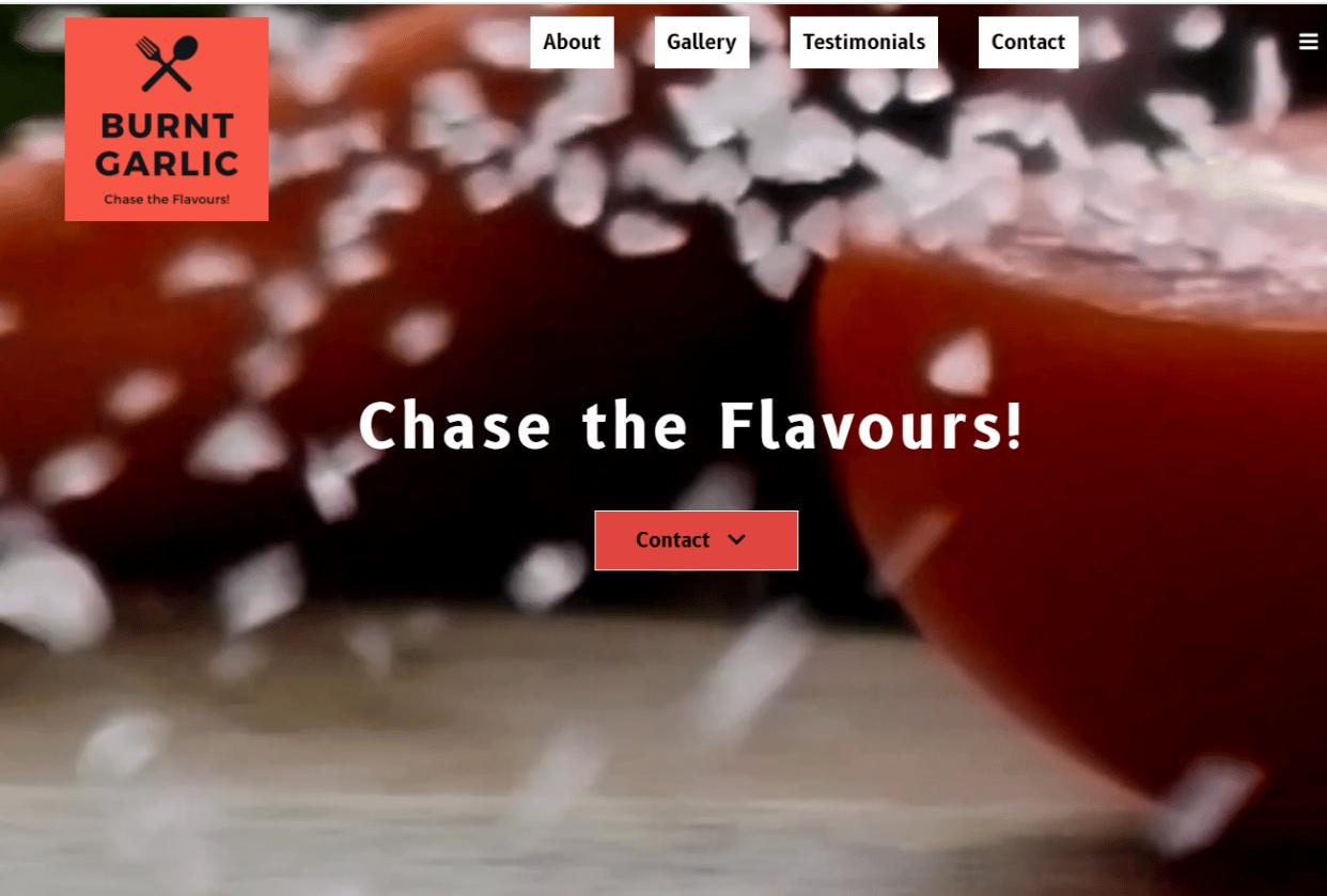 Burnt Garlic Restaurant Website - student project