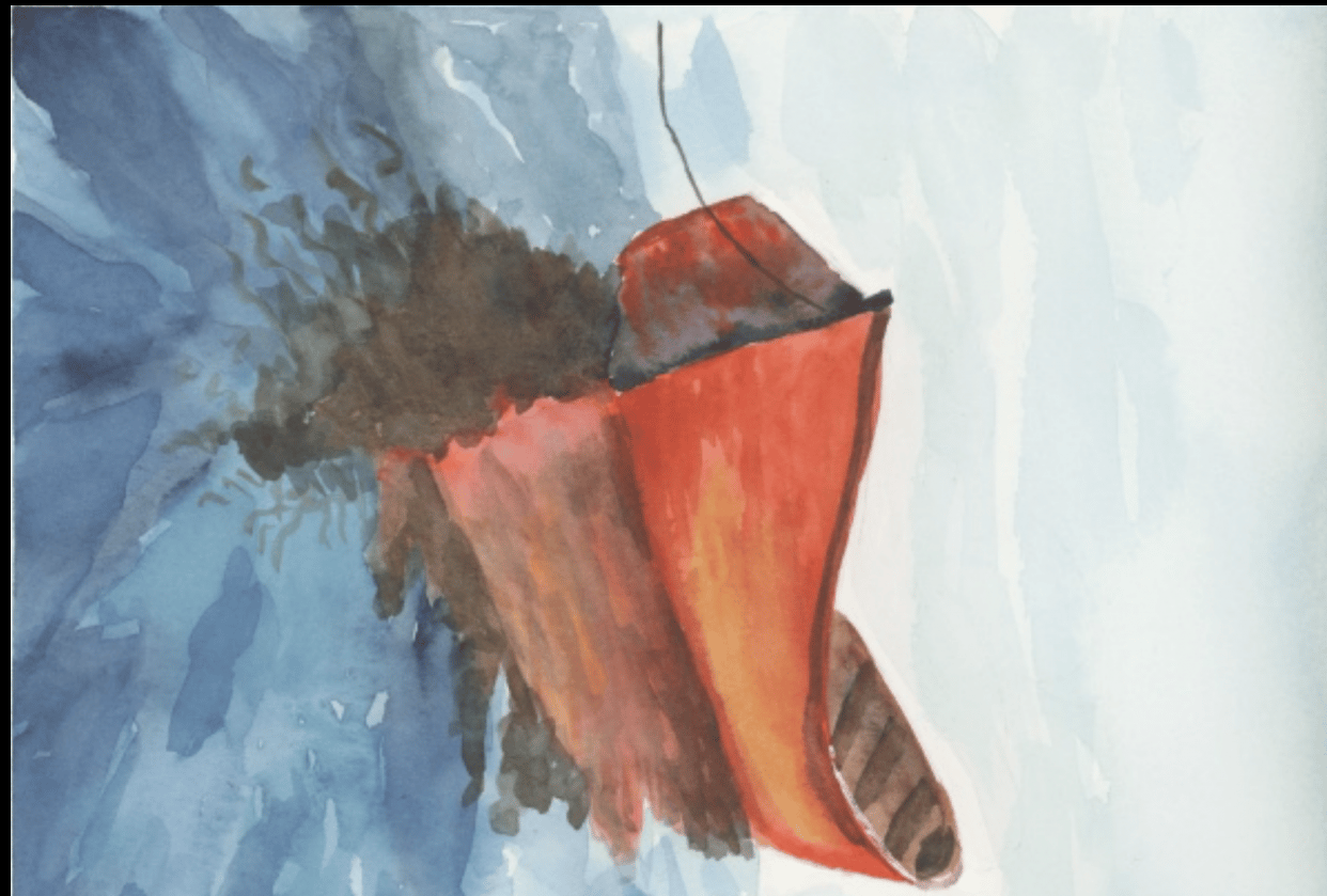 Seascapes - little red boat. - student project
