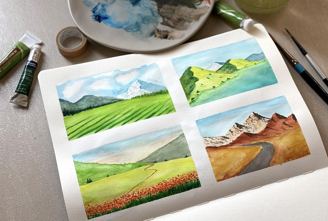 Watercolor landscapes - Z. Nabeel - student project