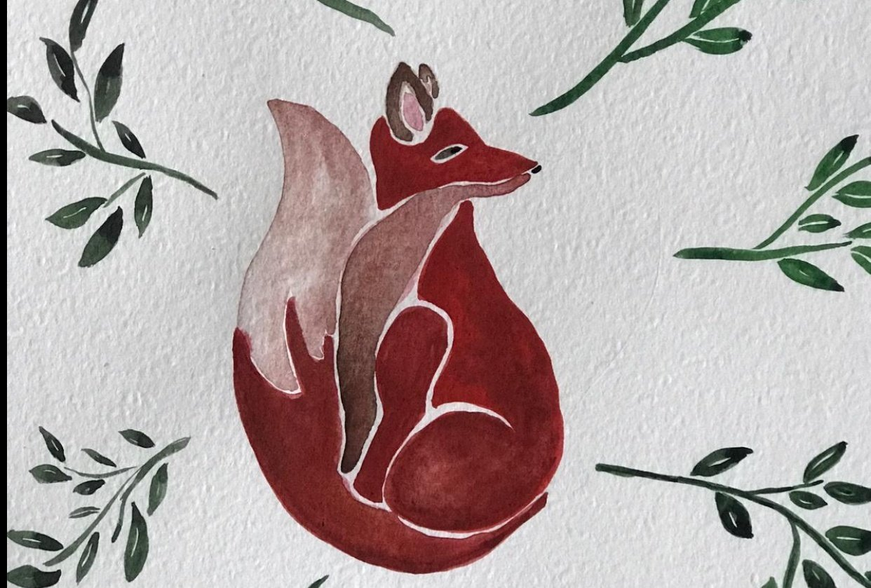 FOX with watercolors - student project