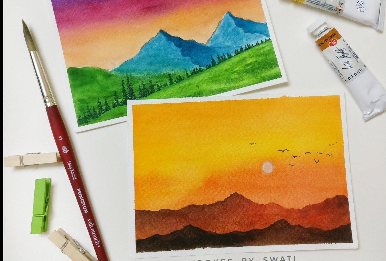 watercolor landcapes - student project