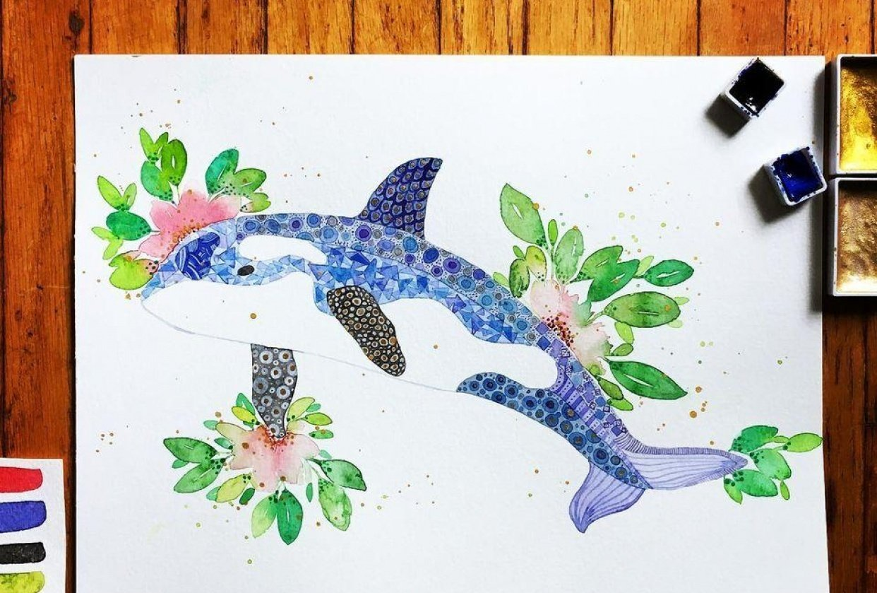 Watercolour Texture—Orca - student project