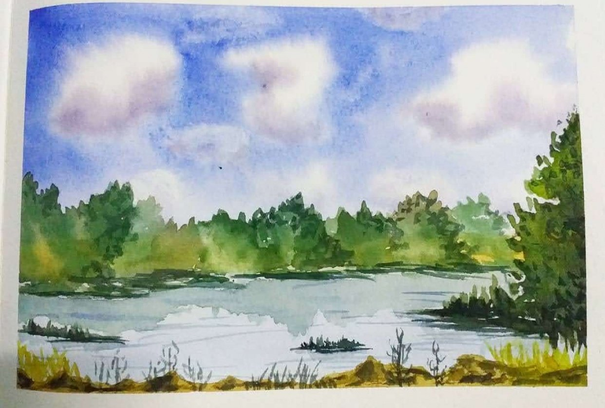 Expressive Watercolor Landscapes - student project