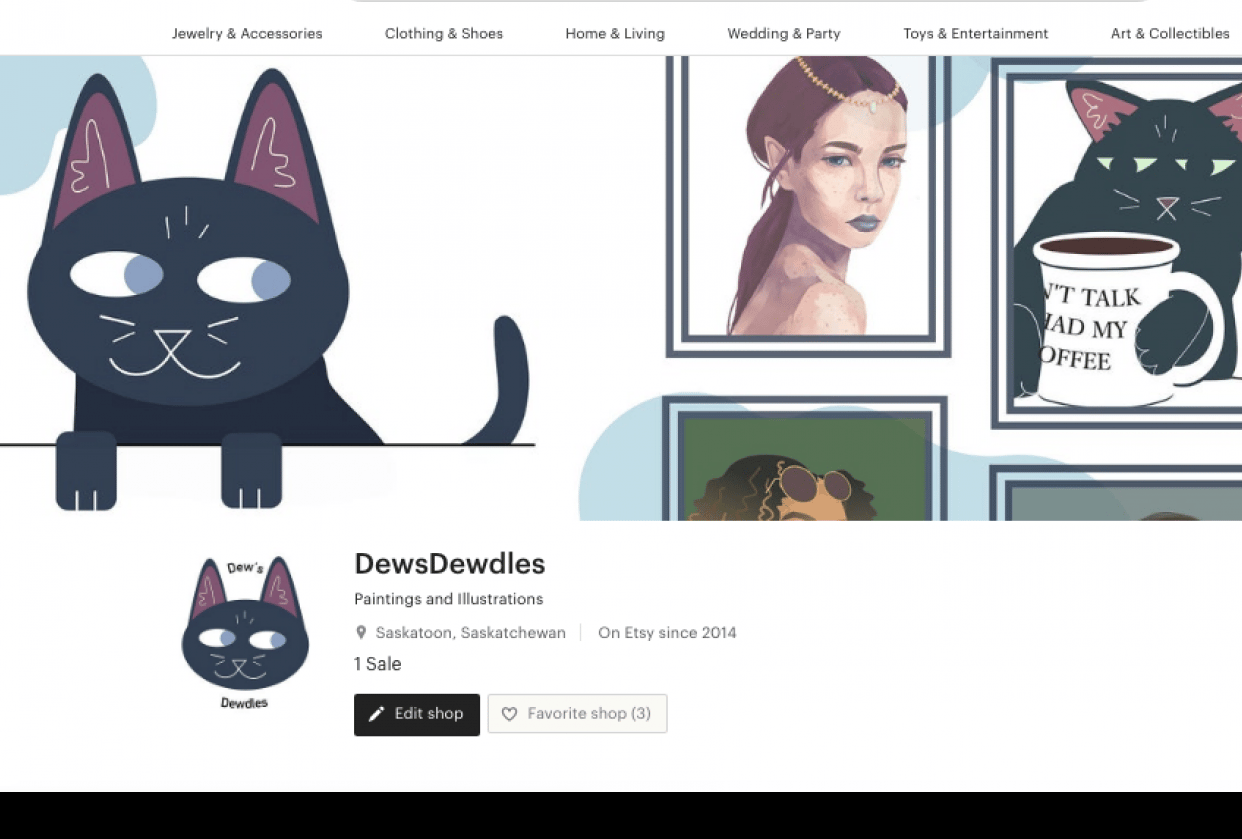 Dew's Dewdles -- my new art Etsy - student project
