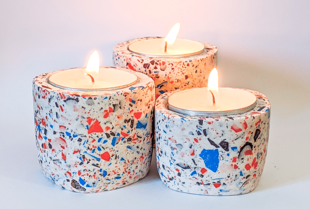 Terrazzo Candle Holders - student project