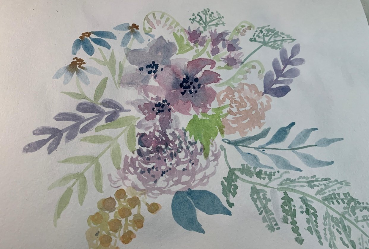 Color Mixing for Vintage Flowers - student project