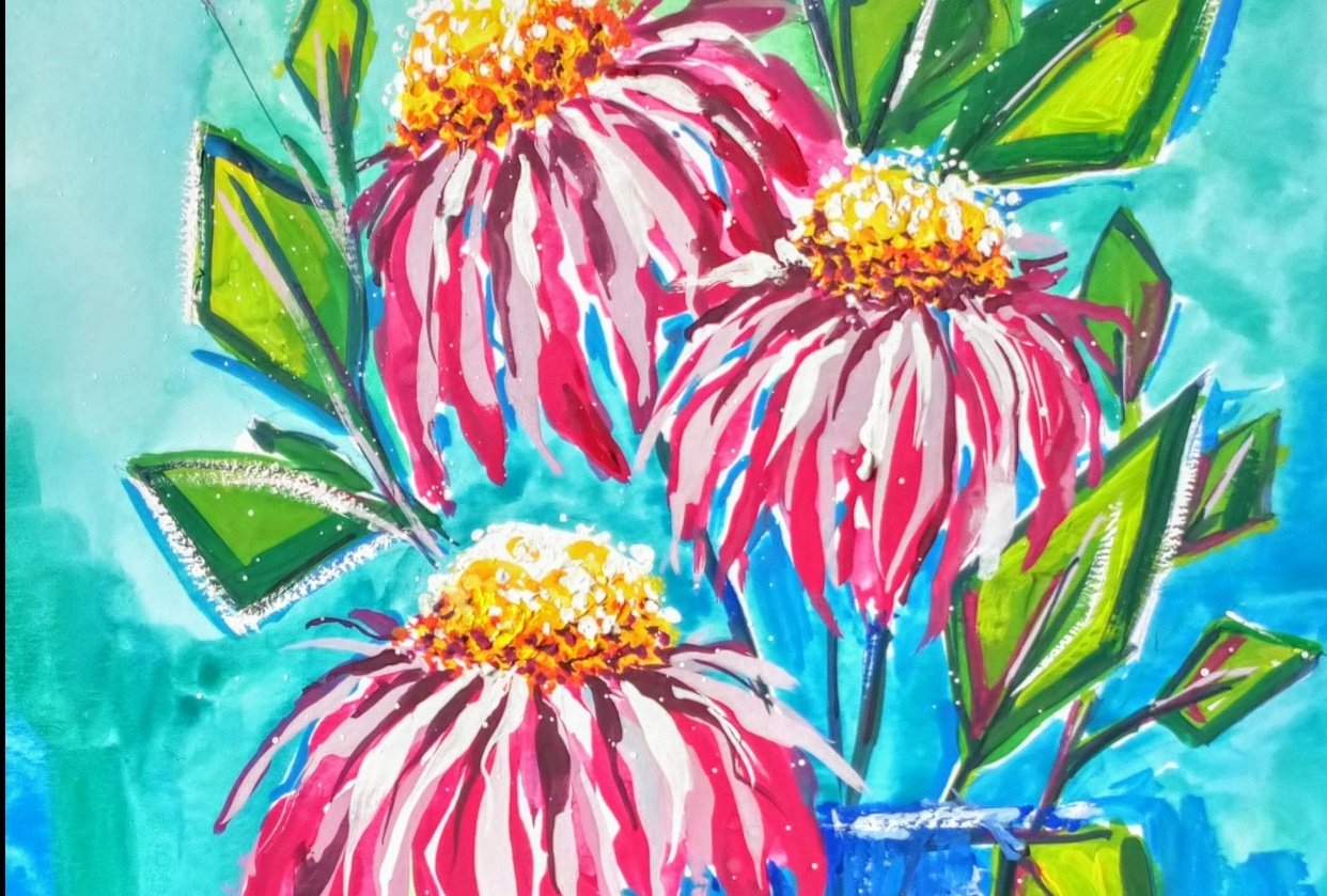 Paint with Me: Abstract Florals in Gouache Echinacea - student project