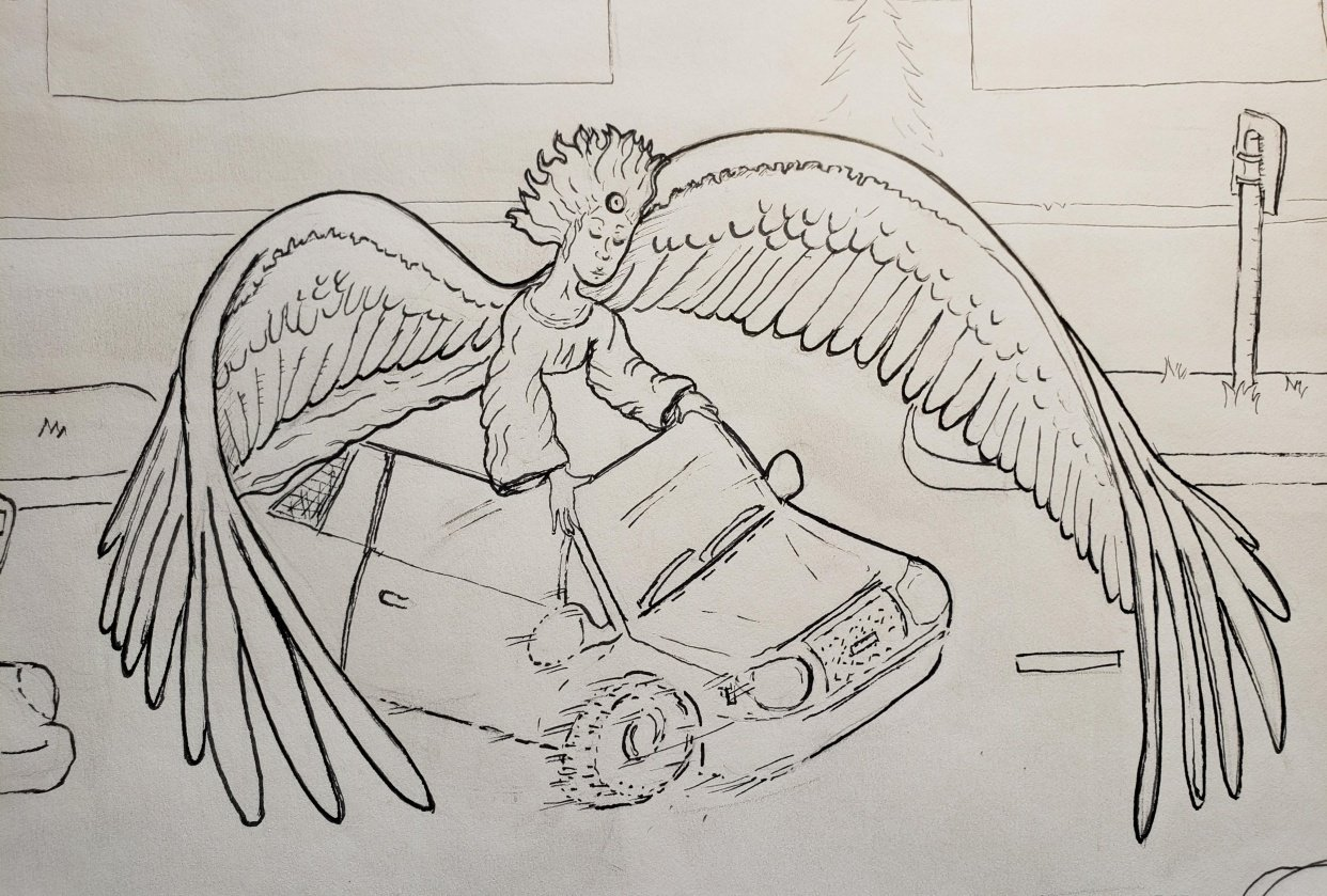 Angel protecting Car - true Story - student project