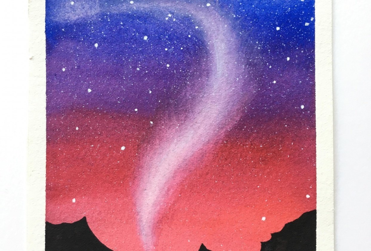 Northen lights in Watercolor ! - student project