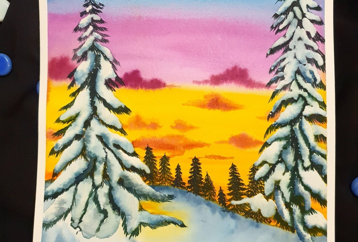 Winter Pines Sunset - student project