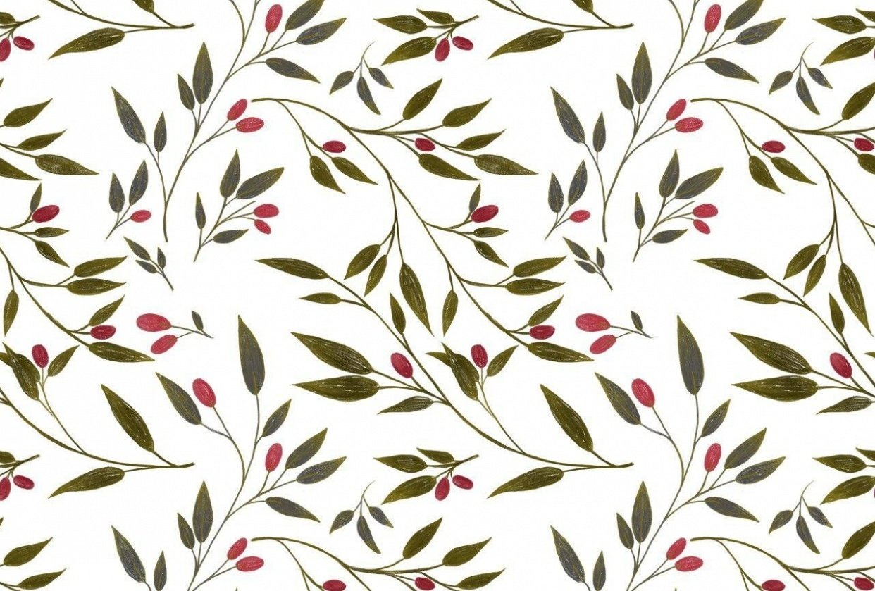 red olives and birds pattern - student project