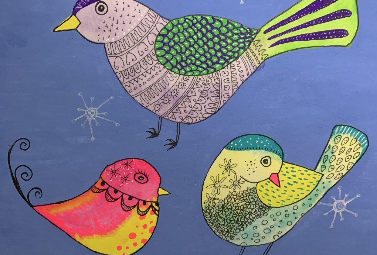 Folk Art Birds Trio - student project