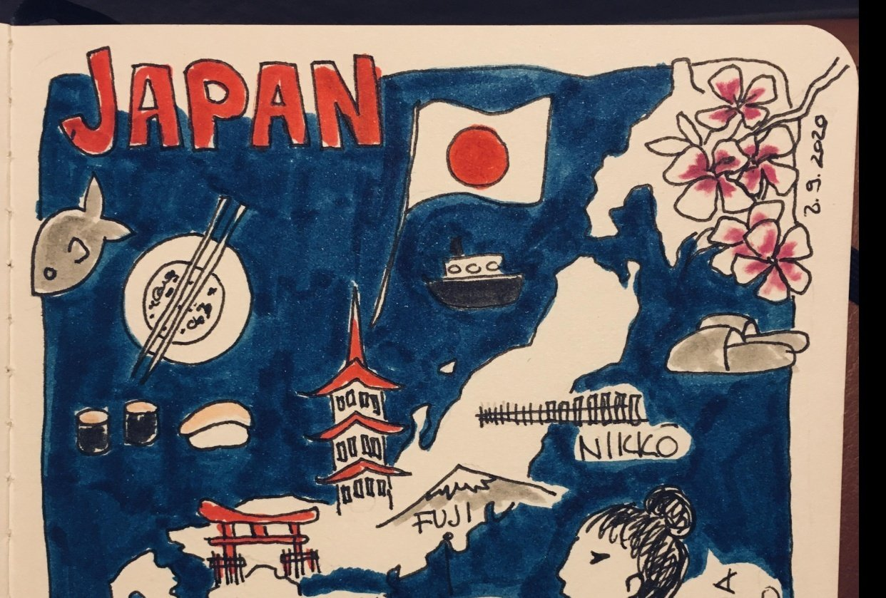 Quick sketch of Japan - student project