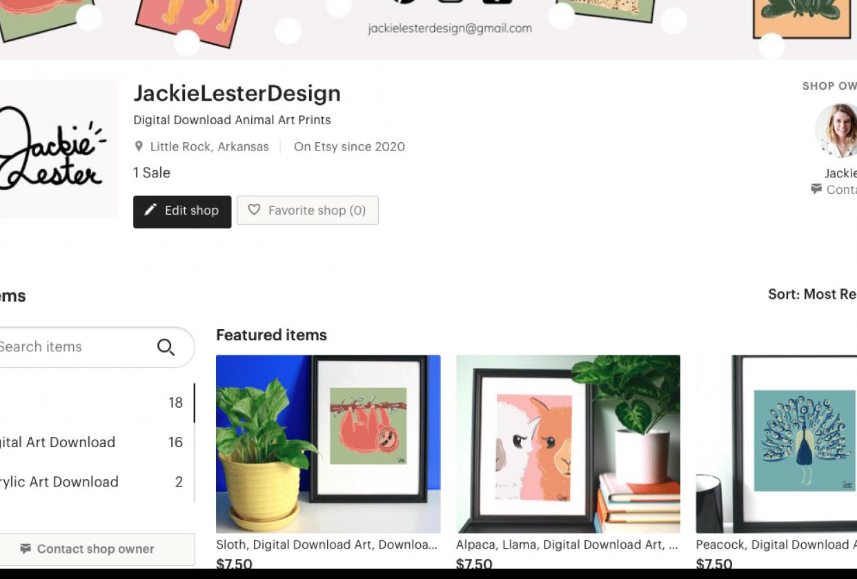Jackie Lester Design Etsy Shop - student project
