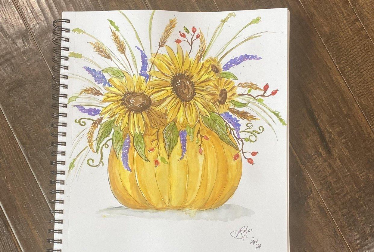 Sunflower Bouquet with Pumpkin - student project