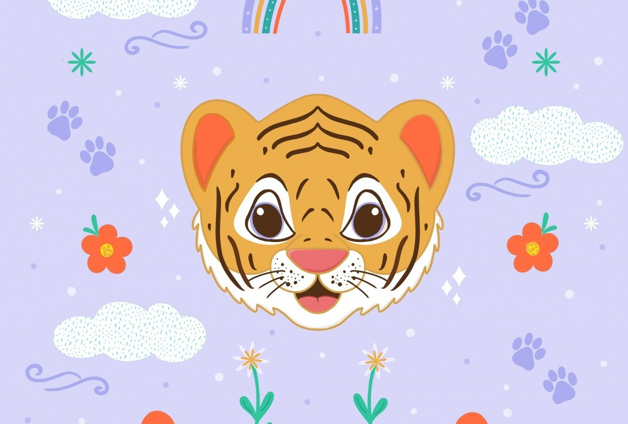 Fun with symmetry - Nature + Tiger head - student project