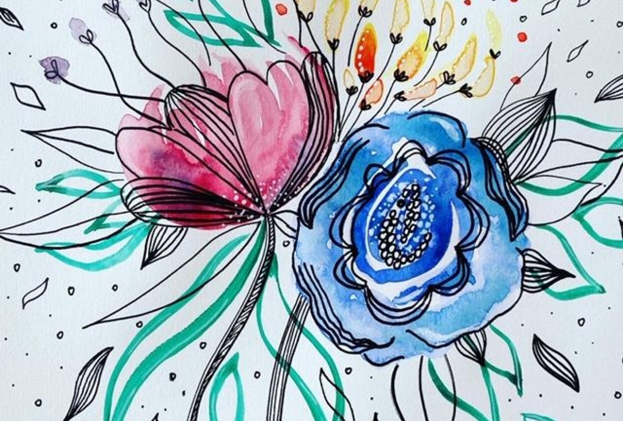 Floral Illustration in Watercolour & Ink - student project