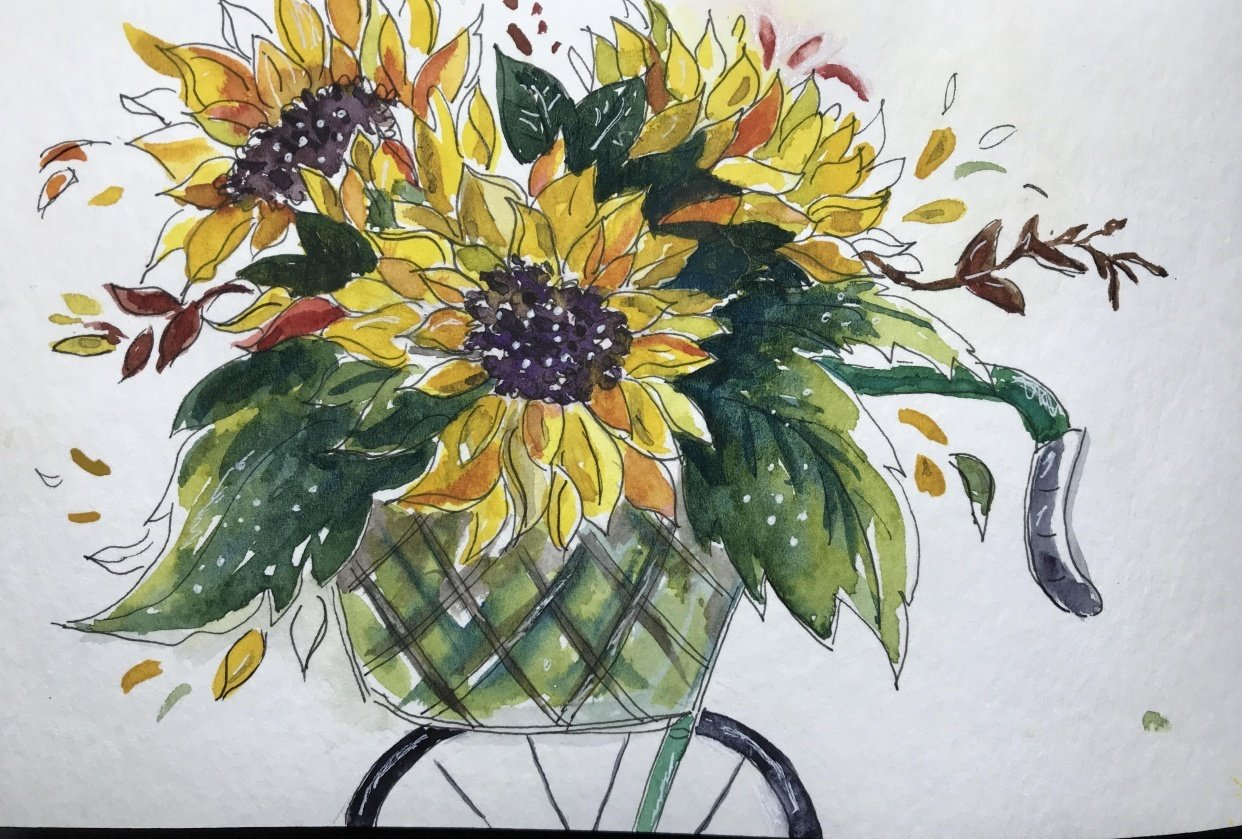 Watercolor sunflowers 3 ways - student project