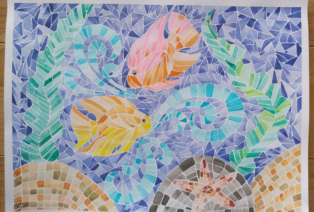mosaic fish tank - student project