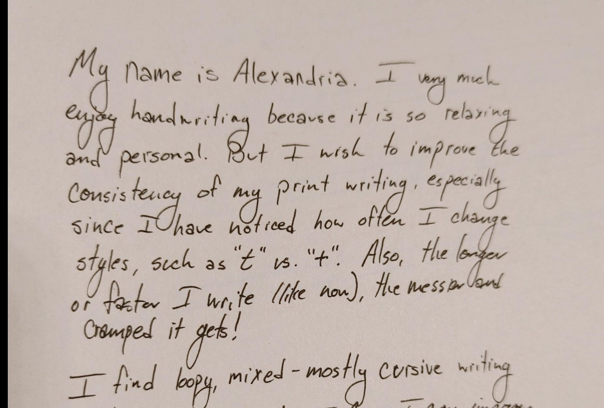 """""""Before"""" handwriting sample - student project"""