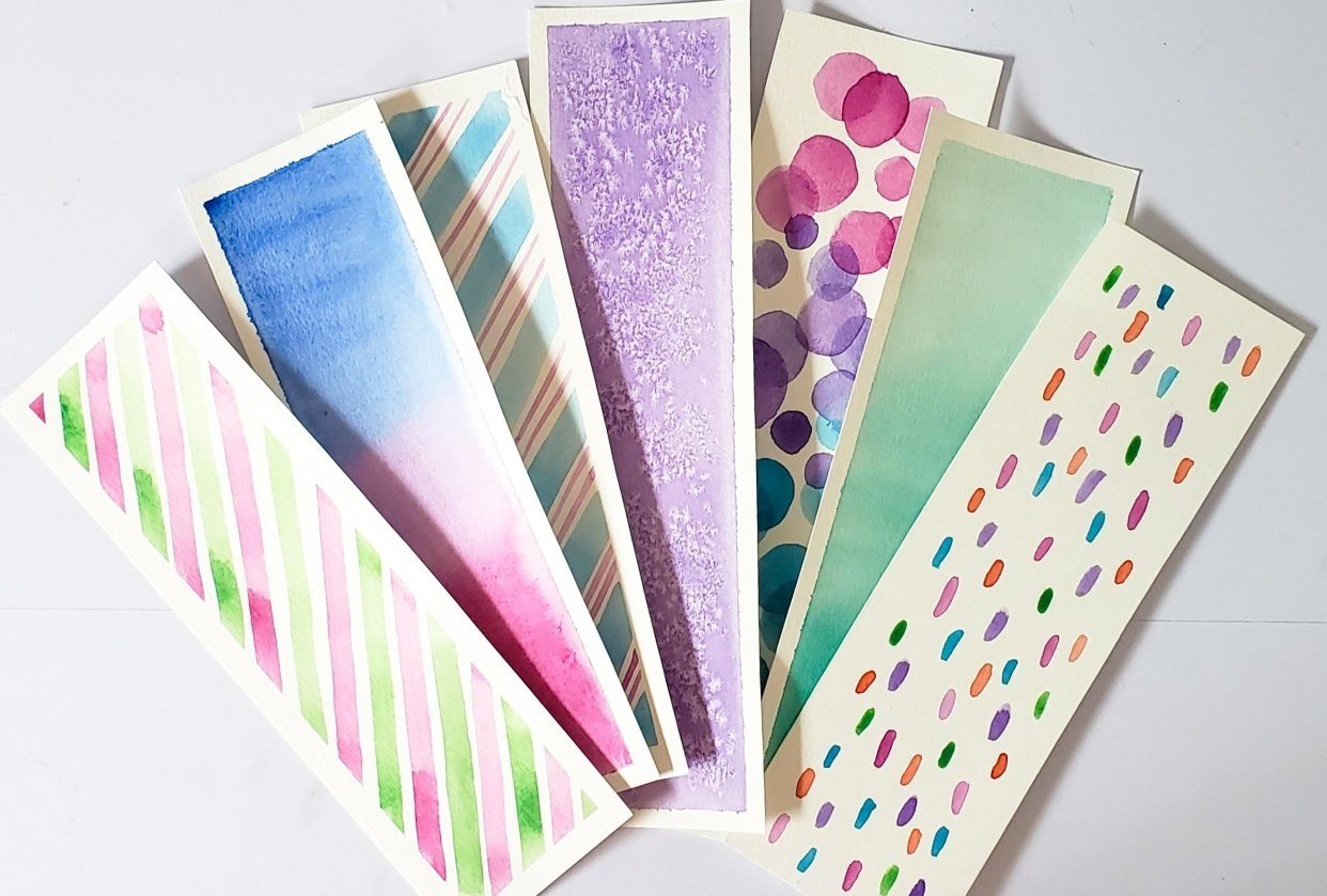 These are my watercolor bookmarks - student project