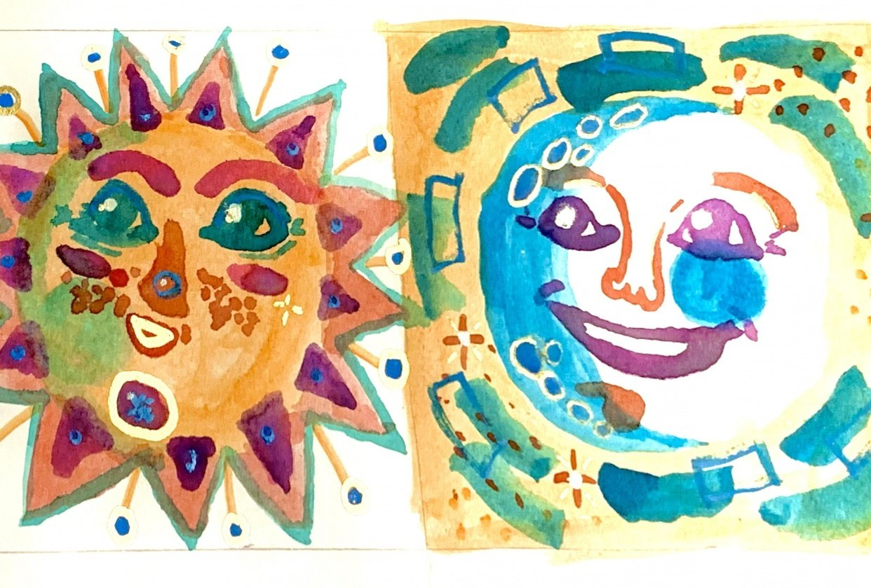 Watercolor sun & moon - student project