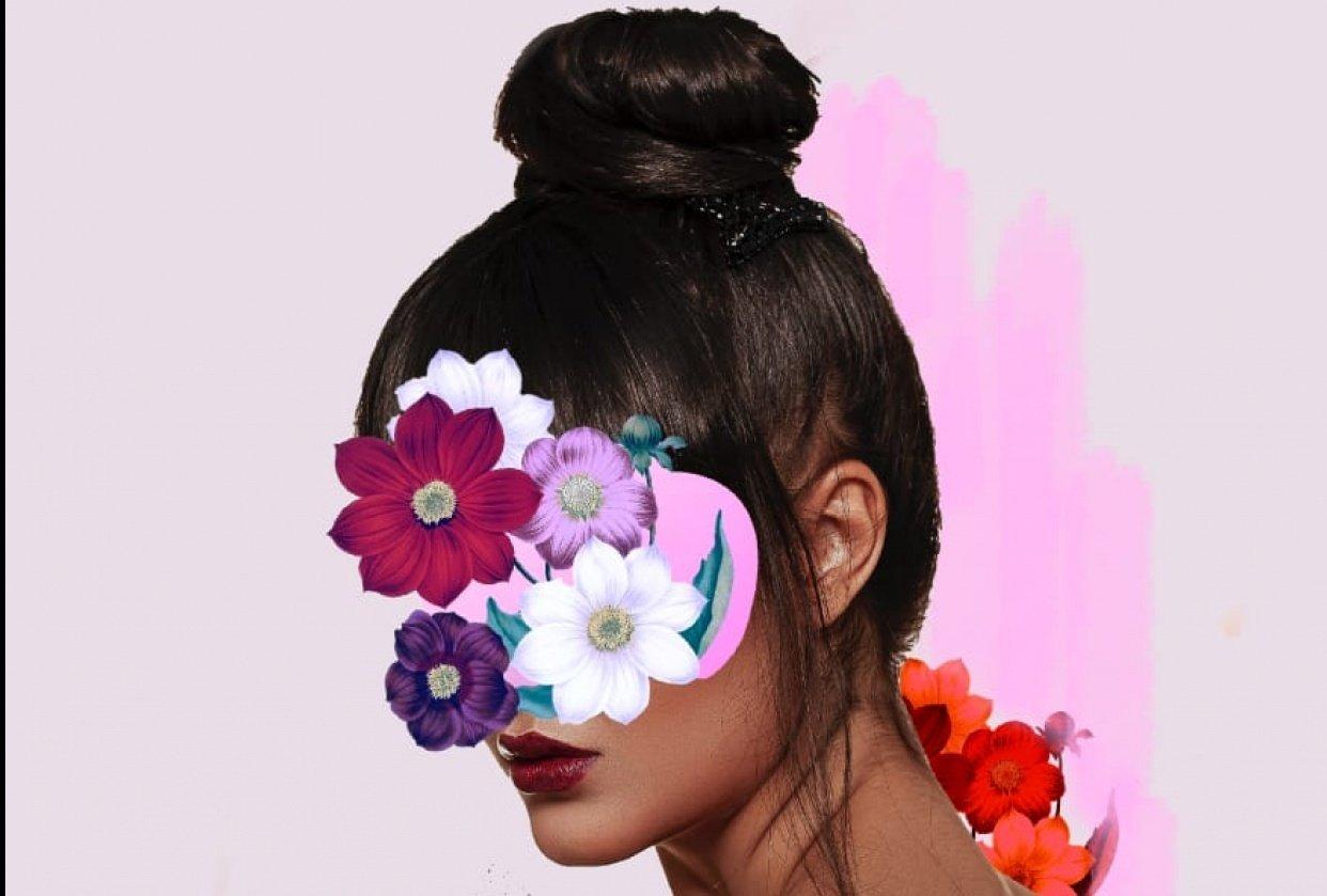 Digital collage: Floral Portrait - student project