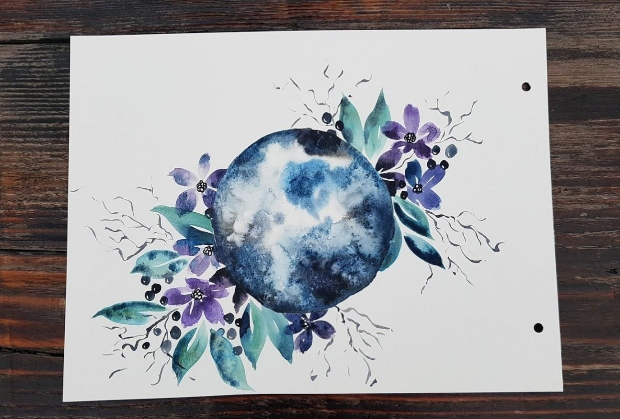 Watercolor Moon - student project