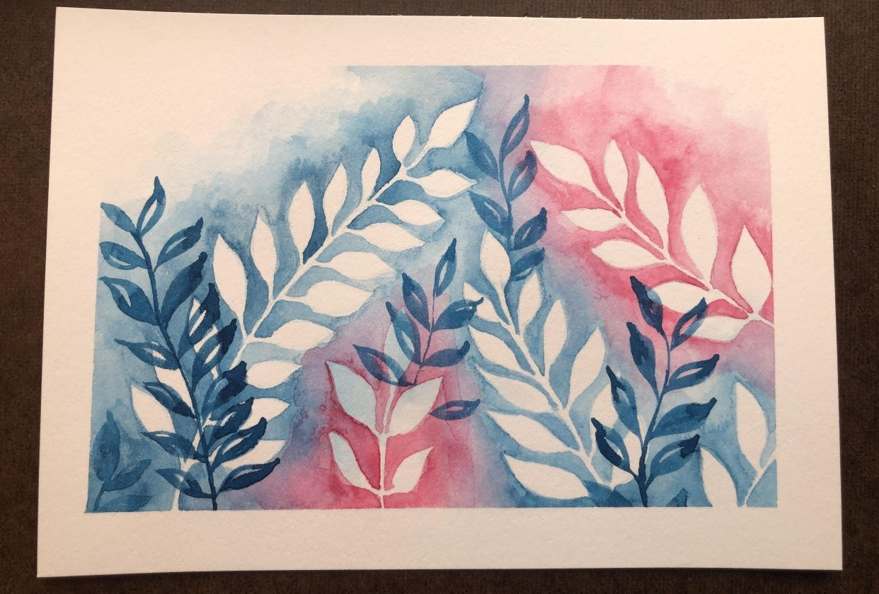 Negative Space Watercolor Leaves - student project