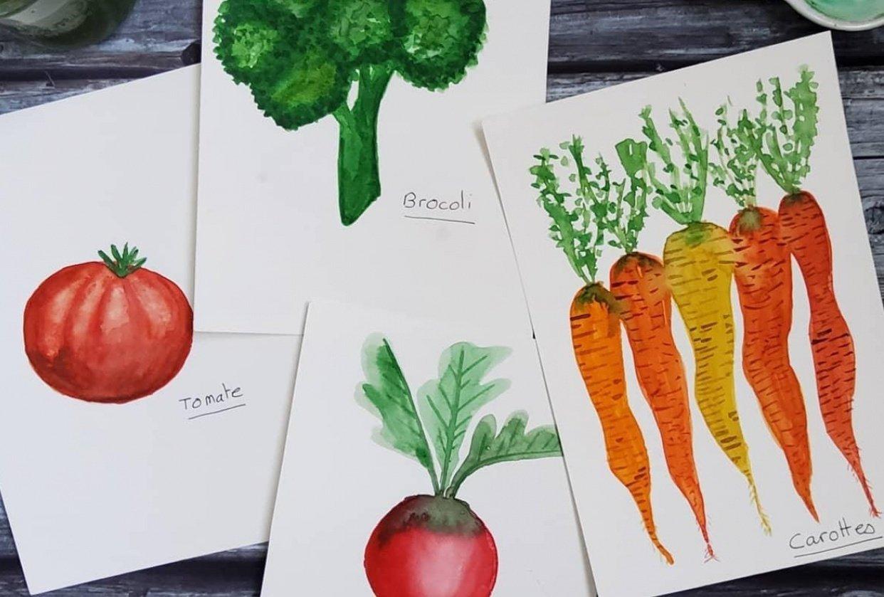 Je peins ... des légumes. - student project