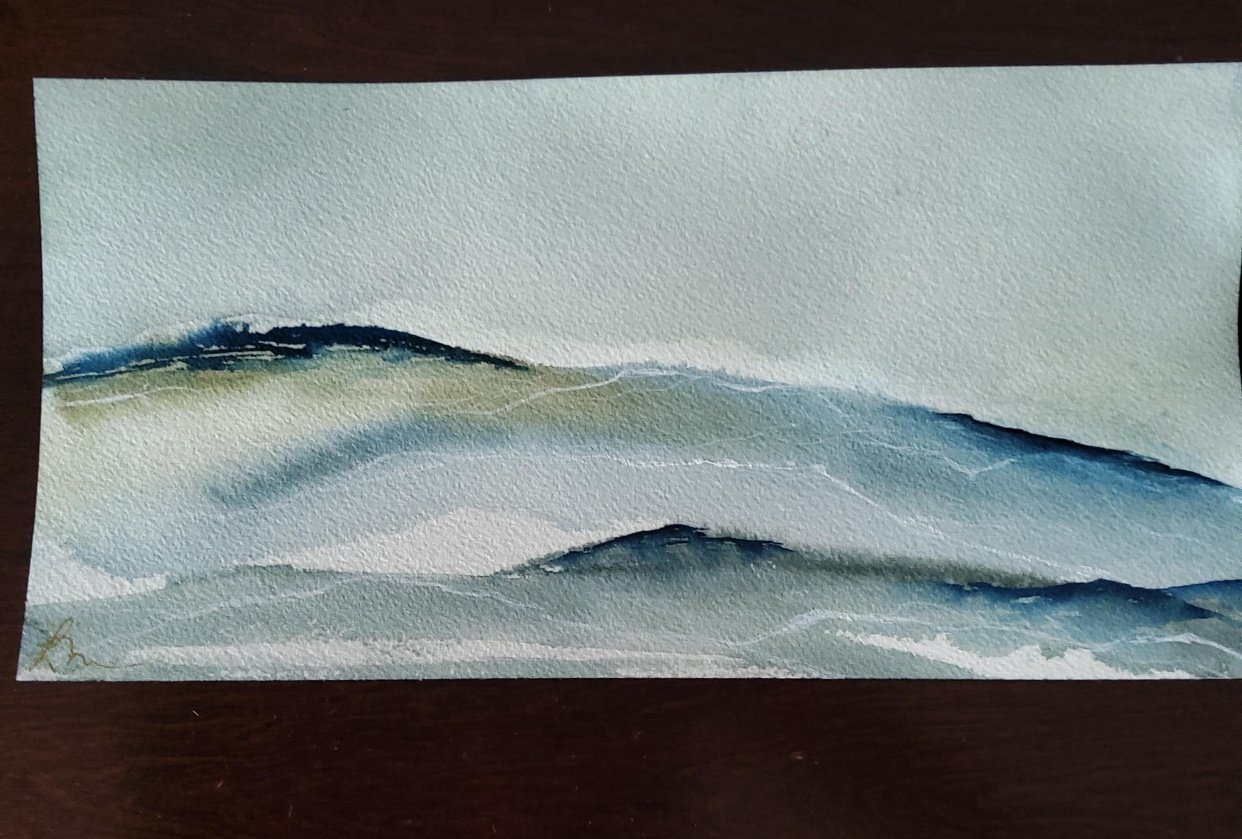 Abstract Watercolour Landscape 1 - student project