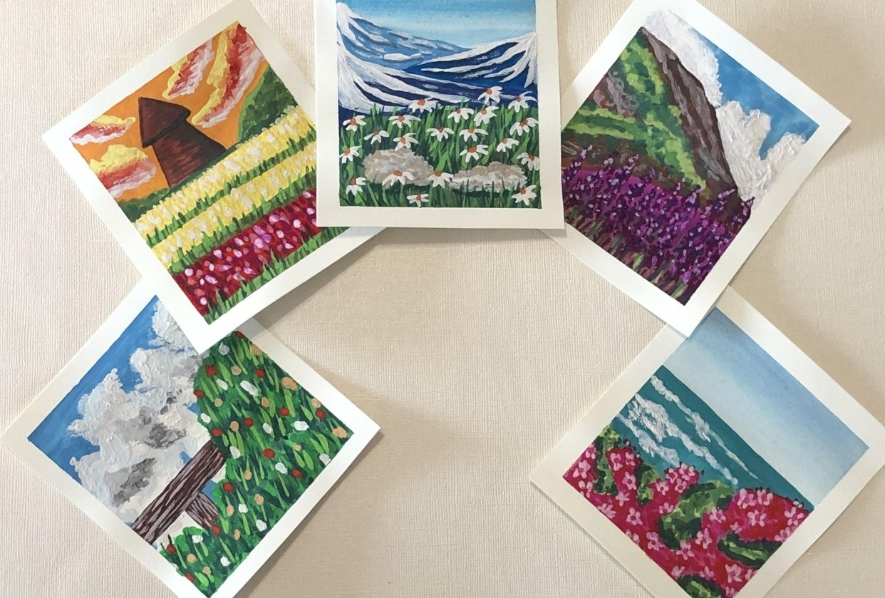 5 Mini Gouache Meadows - student project