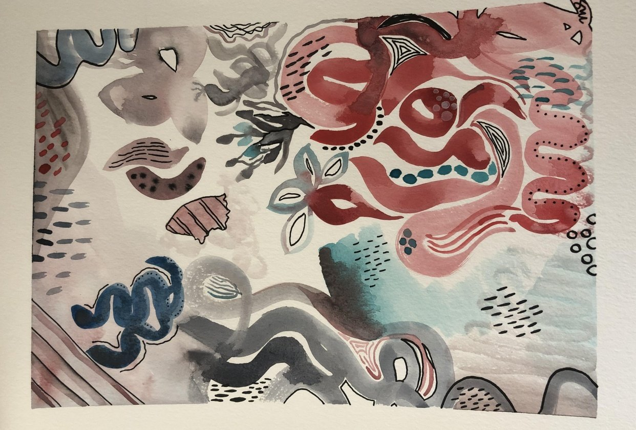 Abstract Watercolor Painting - student project